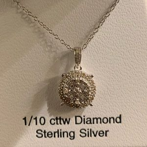 Jewelry - Diamond Pendant Necklace Sterling Silver